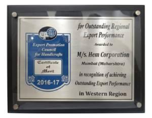 Outstanding Export Performance, 2016-17
