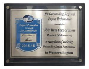 Outstanding Export Performance, 2015-16